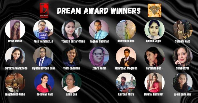 DREAM AWARD by Priya's Wisdom Publication - Twenty Talented Awardees making it big!